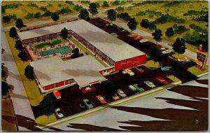 Gastonia, North Carolina Postcard HOLIDAY INN Motel Artist's View w/ 1963 Cancel