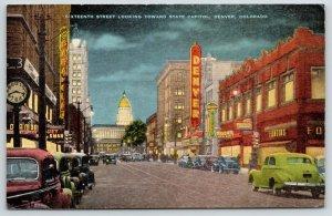 Denver Colorado~Sixteenth Street Clock~Theatres~Paramount~Fontius~1940s Linen