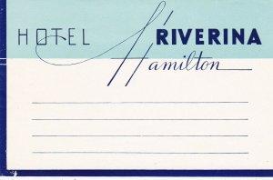 New Zealand Hamilton Hotel Riverina Vintage Luggage Label sk3790