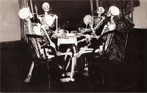 Skeleton Group Playing Cards and Smoking Poker Modern Postcard