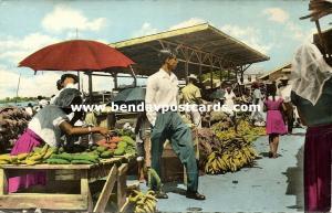 suriname, PARAMARIBO, Outdoor Market with People (1950s) RPPC