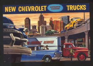 NEW CHEVROLET TRUCKS TRUCK CAR DEALER ADVERTISING POSTCARD '55 CHEVY