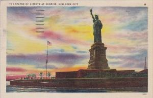 New York City The Statue Of Liberty At Sunrise 1947