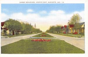Marinette Wisconsin~Carney Boulevard~Homes Line Both Sides~Median~1930s Linen PC
