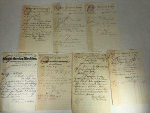 1978 Singer Sewing Machine Co Letterhead Billhead Correspondence Lot of 7