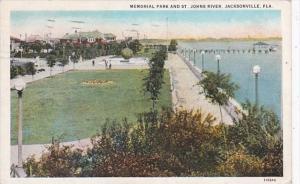 Florida Jacksonville Memorial Park and St Johns River 1921 Curteich