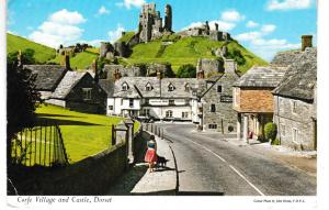 Post Card Dorset CORFE VILLAGE AND CASTLE John Hinde Limited 3BM20