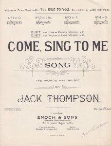Come Sing To Me Jack Thompson 1950s Sheet Music