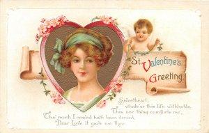 G19/ Valentine's Day Love Holiday Postcard c1910 Pretty Woman 9