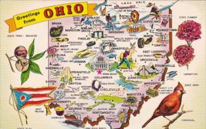 Greetings From Ohio With Map 1971
