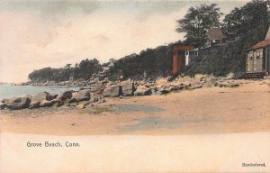 Grove Beach, Connecticut, Early Hand Colored Postcard, Unused