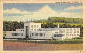 Frostburg Maryland 1940s Linen Postcard Beall High School