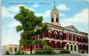 Anniston, Alabama Postcard CALHOUN COUNTY COURT HOUSE Street View Kropp Linen
