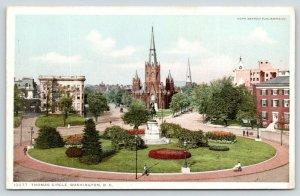 Washington D.C.~Thomas Circle & Monument~Church Behind~c1910 Detroit Publ