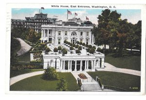 Washington DC White House East Entrance Vintage B S Reynolds Postcard 1932