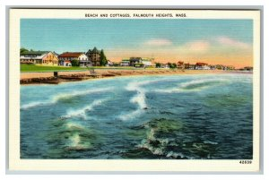 Beach and Cottages, Falmouth Heights MA c1940 Postcard L2