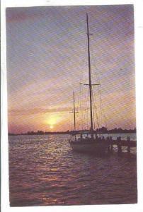 Docked Sailboat, Sunset over the Sampit River at the head of Winyah Bay, Hist...