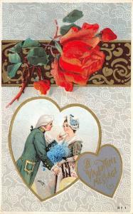 Valentine~Regency Couple Heart Vignette~Red Rose Ornate Banner~Gold Emboss~HIR