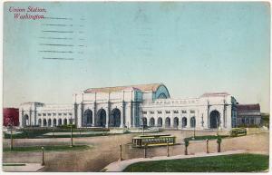 1912 Washington D.C. DC Union Train Station Railroad RR PRR B&O RARE DB Postcard