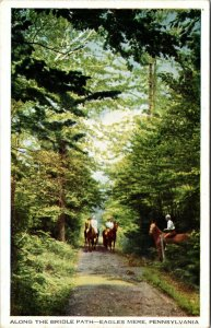 Postcard PA Eagles Mere South Side Horses - Along the path - pc
