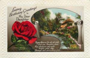 Postcard Greetings birthday flower multi view house river