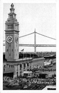 FERRY BUILDING San Francisco, CA Oakland Bay Bridge c1930s Vintage Postcard