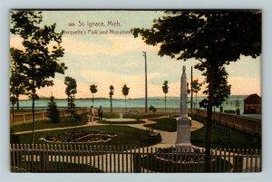 St Ignace MI-Michigan, Marquette's Park & Monument, Vintage Postcard
