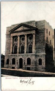 Sioux Falls, South Dakota Postcard MASONIC TEMPLE Lodge Building c1910s Unused