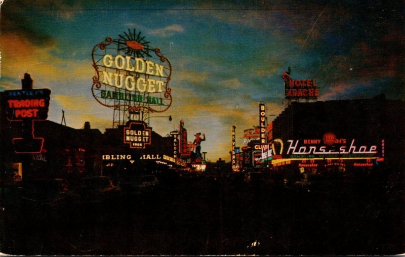 Nevada Las Vegas Fremont Street At Twilight 1955