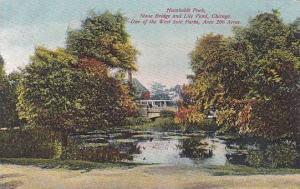 Illinois Chicago Humboldt Park Stone Bridge And Lily Pond