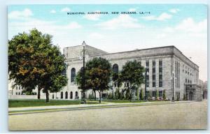 *Municipal Auditorium New Orleans Louisiana Vintage Kropp Linen Postcard C58