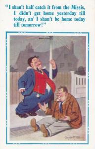 Two Drunk Alcholic Tramp Lampost Stopwatch Watch Dangling Comic Humour Postcard