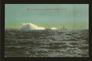 USA Dated 1913 Breakwater & Lighthouse Buffalo NY Color Postcard