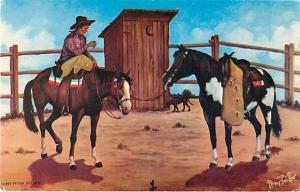 Oil Painting Vern Parker Just Pausin' fer a Little Refresen'