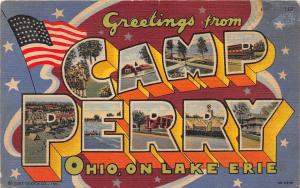 E23/ Camp Perry Ohio Postcard Linen Large Letter Greetings Curt Teich Lake Erie