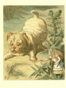 Giant Puppy Dog Alice In Wonderland Victorian Book Postcard
