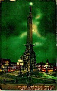 Soldier's and Sailors' Monument at Night Indianapolis Indiana IN 1913 Postcard