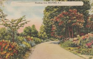 Rural Road - Greetings from Belford NJ, New Jersey - pm 1944 - Linen