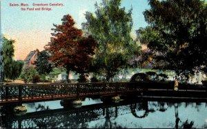 Massachusetts Salem Greenlawn Cemetery The Pond and Bridge