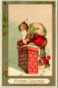 Vintage CHRISTMAS Postcard SANTA CLAUS Red Suit / Climbing into Chimney c1910s