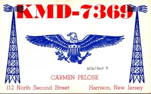 QSL Card KMD-7369 Carmen Pelose Harrison New Jersey