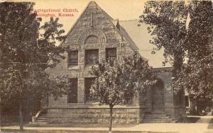Wellington Kansas~Congregational Church~Stone Building Built 1891~1912 Postcard
