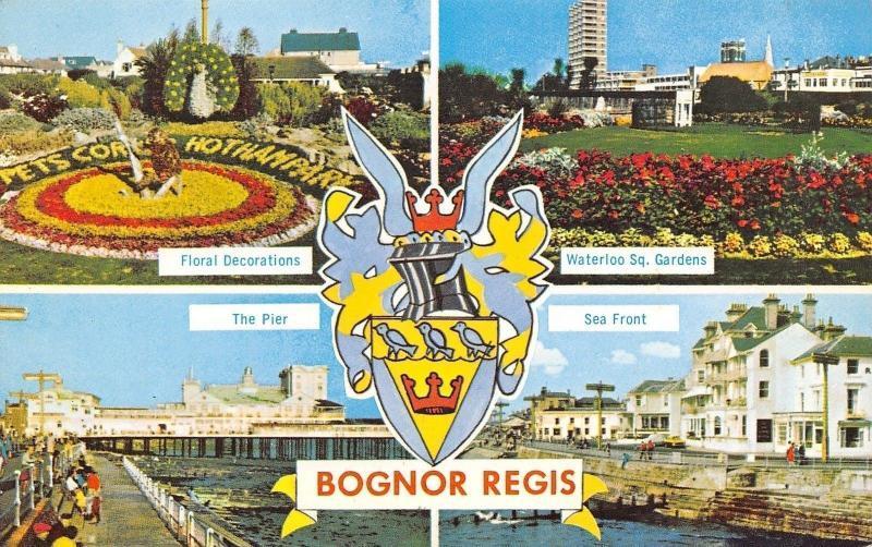 Bognor Regis West Sussex~Floral Sundial~The Pier & Seafront~Postcard 1950s