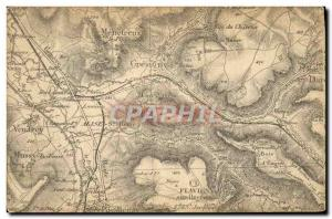 Old Postcard geographical maps Menetreux Gresigny Flavigny Venarcy