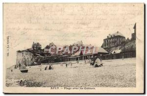 Old Postcard Ault With The Beach Cabins