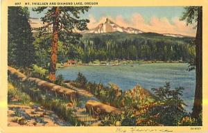 Linen Card of Mt Thielsen & Diamond Lake Oregon OR 1944