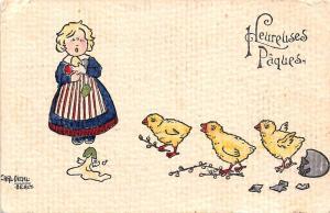 Easter: Heureuses Paques, girl break egg cry chicken babies, Carl Diehl 1912