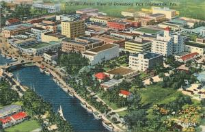 Fort Lauderdale Florida~Aerial View Of Downtown~1940s Linen Postcard