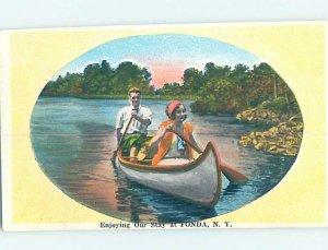 W-border PADDLING CANOE BOAT Fonda - Near Amsterdam & Schenectady NY AD7361