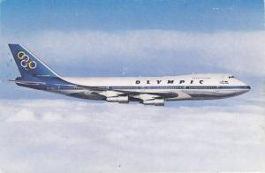 OLYMPIC Airways Boeing 747-200B Jumbo Jet in Flight, Olympic Rings Logo on Tail